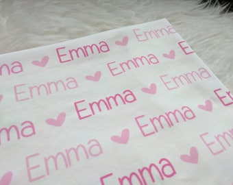 Personalized pink heart swaddle blanket for newborn or hospital pictures: baby personalized name newborn hospital gift baby