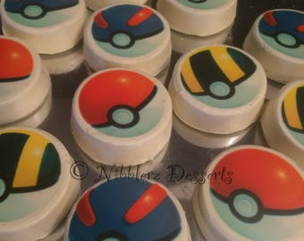 12 Poke Balls PokemonGO! theme chocolate covered OREO cookies, image directly on chocolate, NO wafer paper, Great Ball, Ultra Ball
