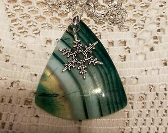 Christmas Snowflake Triangle Agate, Geode, Pendant,