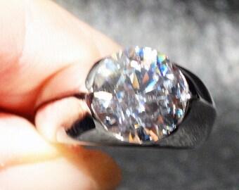 Modern Engagement Ring Platinum over Sterling CZ