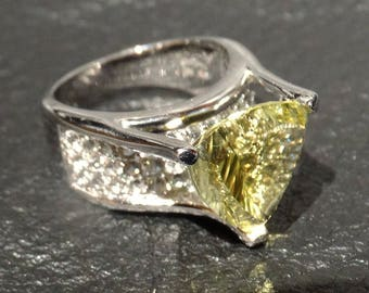 Citrine Trilliant Ring, White Topaz Accents, Sterling Silver, Vintage