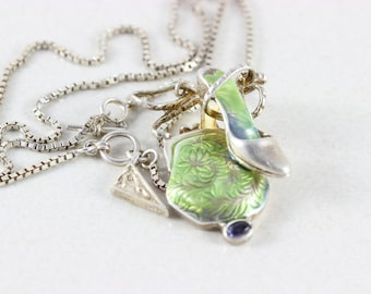 Sterling Silver Raine Purse and High Heel Shoe Necklace
