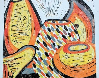 Italian Glass-Original Reduction linocut art by Australian Artist