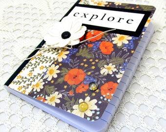 Explore Mini Journal - Explore Mini Notebook - Small Journal - Inspirational Journal - Botanical Notebook - Blank Journal - Floral Journal
