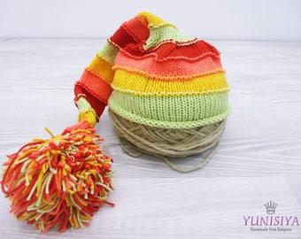 Crochet baby hat Baby boy hat Crochet hat Elf Hat Hat with Pom Pom Striped elf hat Green Orange hat Baby Girl Elf Hat Newborn Stocking Hat