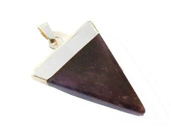 Pendant stone Triangle prong setting AMETHYST silver