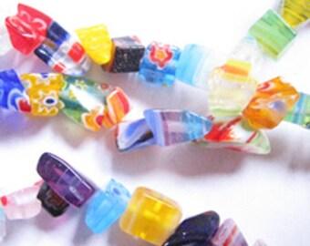 10 x beads MULTICOLOR Millefiori glass Chips