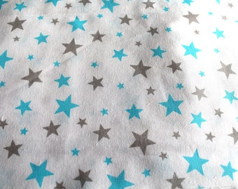 Fabric coupon-star 50 x 70 cm turquoise and taupe