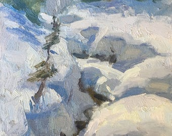 Scoops of snow - Original contemporary landscape painting - Oil Painting