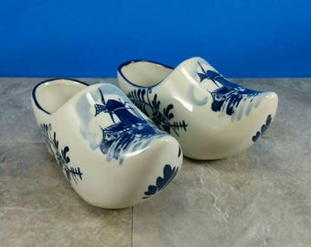 Vintage Ceramic Holland Windmill Shoes with Delft's Blue Designs - Golden Crown E & R - Handpainted