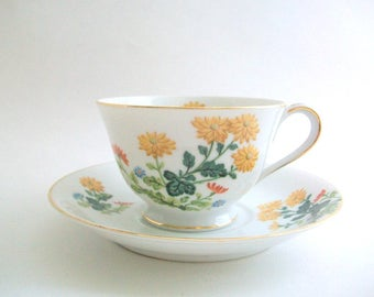 Vintage Teacup Set, Yellow Teacup Set, Floral Teacup Set, Yellow & White Teacup, Teacup and Saucer, Teacup Set, Noritake Teacup White Teacup
