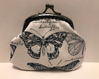 Black and White Butterfly Coin Purse