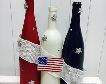 Red White & Blue Flag Wine Bottles