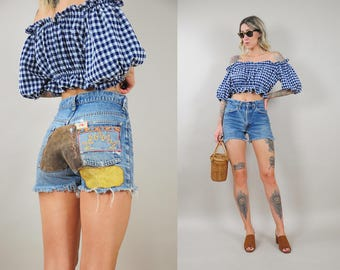70's Patch & Embroidered Levi's Cutoffs