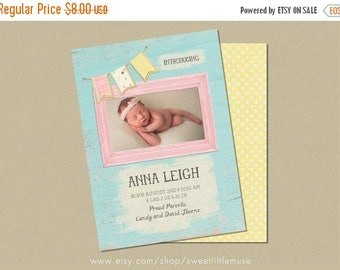 ON SALE Birth Announcement Template - shabby chic birth announcement template - girl birth announcement