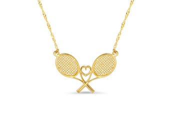 14k solid gold tennis racket necklace with heart in center. tennis necklace. sports jewelry