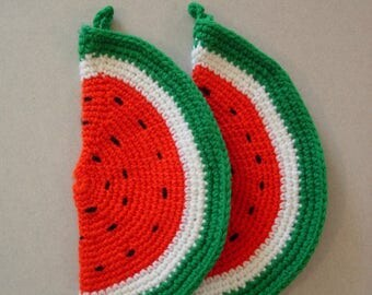 Pair of Vintage Crocheted Watermelon Slice Pot Holders