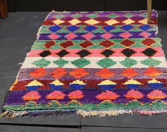 Carpet and Area Rug 3x5 Moroccan Boucherouite Rug Handwoven Carpet Tapestry Berber Rug Vintage Moroccan Rug Morocco carpet