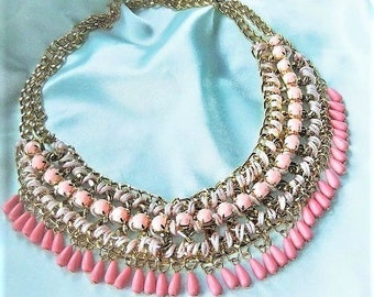 Statement necklace pink hippy ethno necklace chain braided