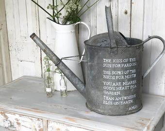 Hand painted vintage metal zinc watering can for the garden