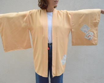Vintage kimono - silk robe - yellow with floral - Japanese - boho bride or wear as jacket!