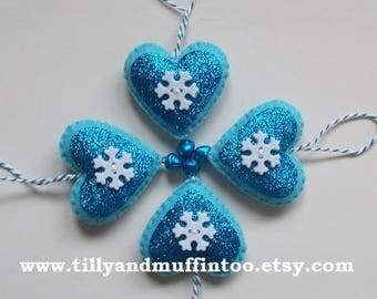 Handmade Felt Snowflake Heart Christmas Ornament/Decoration/Bauble. Aqua Heart Ornament. Felt And Glitter Ornament.Snowflake.