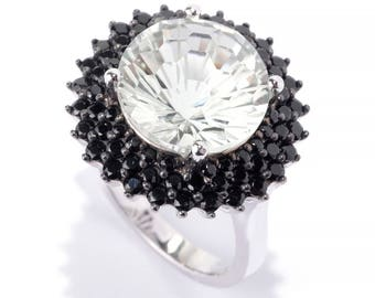 SS/ 12mm Round 6.21ctw Green Amethyst & Black Spinel Halo Cocktail Ring SZ 6,7