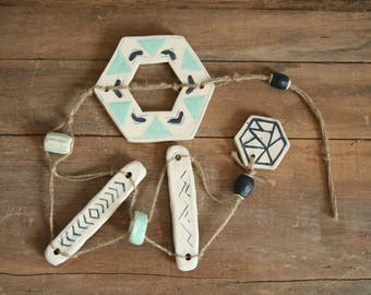 Ceramic Geometric Mobile, Hanging Wall Art, Indoor / Outdoor, Handmade Beads, Navy Blue, Mint Green, Off White, Jute Cord, Minimalist Decor