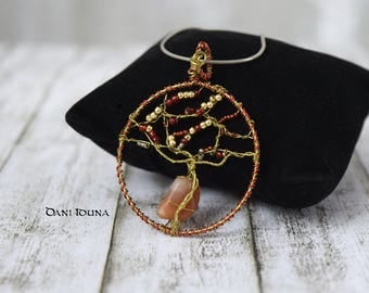 """Wire wrapped pendant """"Red Autumn"""" / Red golden pendant with Carnelian / Tree of Life pendant / Unique piece"""