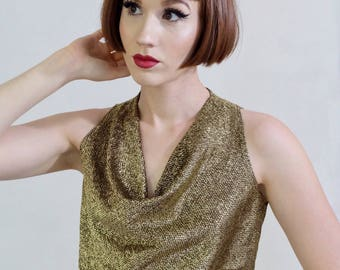 Vintage Metallic Gold Cowl-neck Top, Tank Top, Size Small