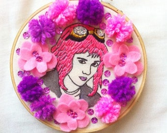 Ramona Flowers embroidery / Ramona Flowers wall decor / Scott Pilgtim vs the world embroidery / Scott Pilgrim vs the world home decor