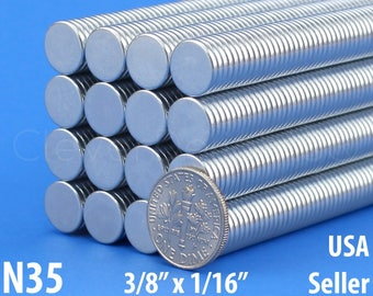 """50 3/8"""" x 1/16"""" Neodymium Magnets - N35 - Super Strong Rare Earth Disc Magnets - Fridge Scientific Magnets - 10mm x 1.5mm - .375 Inch"""