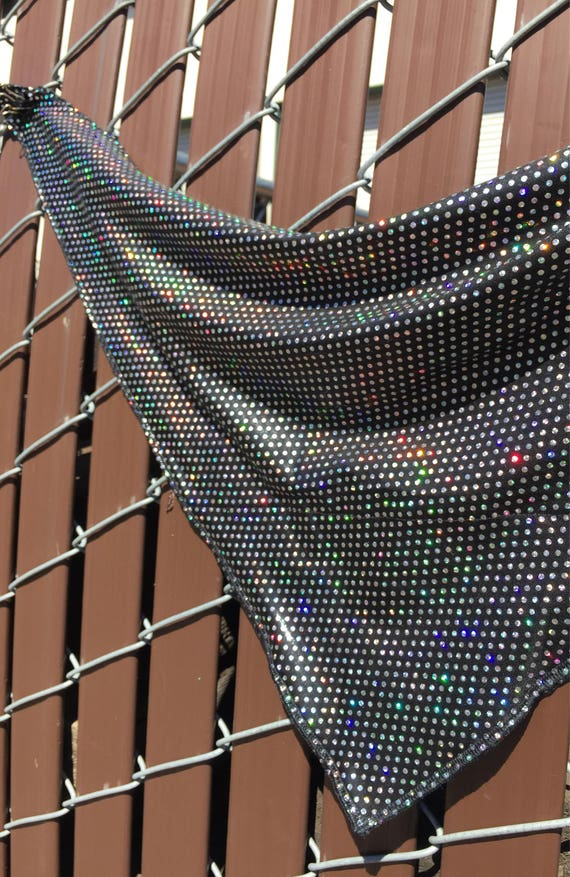Black Spandex Bandana w/ Silver Holographic Polka Dots and Hidden Stash Pocket