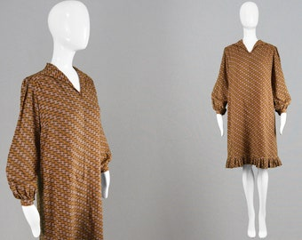 Vintage 60s French Couture Dress PIERRE DUMAS Pink & Brown 1960s Shift Dress Bishop Sleeve Dress Pleated Flounce Dress Geometic Print Mod