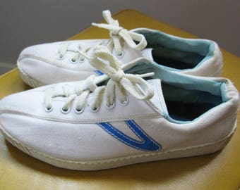 Vintage 70's Tretorn LTW Canvas Tennis Shoe - Sneakers - US Size 7 Made in Sweden