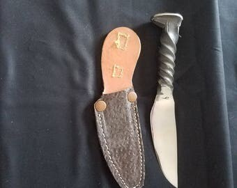 Hand forged knife with leather sheath