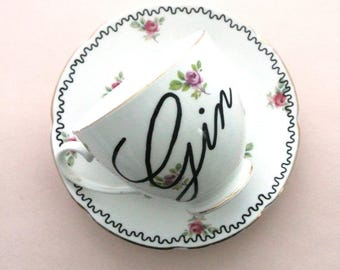 Gin Teacup and Saucer Set Alcohol Gift for Her Gin and Tonic Lover Present for 18th 21st Birthday Legal Drinking Age Adult Tea party Vintage