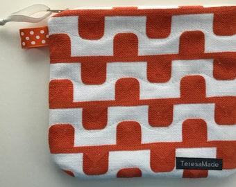 Small Orange Geo Zip Pouch