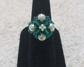 Elegant Green and Ivory Beaded Ring