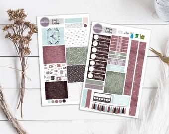 Winter Wishes Kit Watercolor Deer Snow Planner Stickers ECLP Happy Planner KikkiK Filofax minimalist