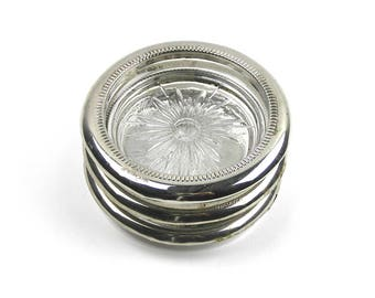 Vintage 1950s Silver and Glass Coasters Set of 3 Silver Plated Coasters Leonard Italy
