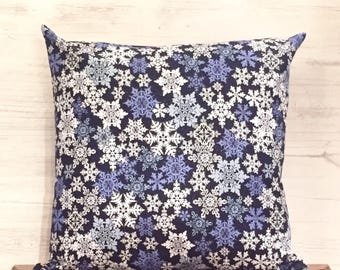 Snowflake Pillow Cover - Holiday Pillow - Winter Pillow - Christmas Pillow - Snowflake Decor - Winter Decor - Blue Pillow