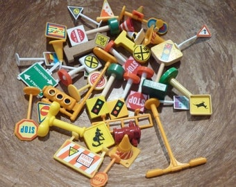 35 Miniature Traffic Street Signs Stop Railroad Construction Cones Train Toy Vintage Craft Supply Assemblage Lot (#1334)