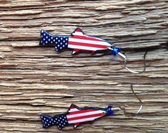 American flag trout earrings: trout earrings with American flag, trout silhouette earrings, trout jewelry, patriotic fish earrings, military