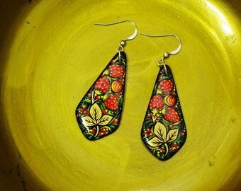 Hand painted Earrings  Wood Russian folk style Khokhloma painting. Made to order.