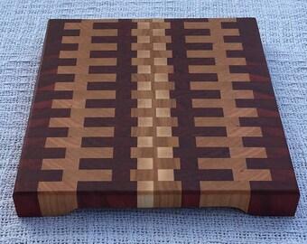 End Grain Cutting Board - Maple, Cherry, and Padauk