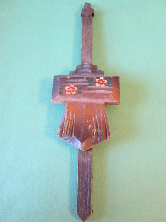 """7"""" Vintage Carved Wood Cuckoo Clock Pendulum for your Clock Projects - Steampunk Art -"""