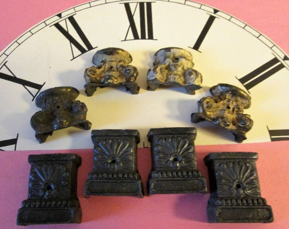 2 Sets of 4 Antique Cast Metal Mantle Clock Feet for your Clock Projects - Steampunk Art - Metalwork