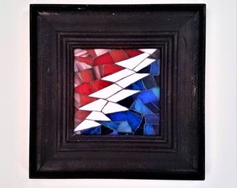Grateful Dead Art Mini Framed Mosaic Picture, Hippie Wall Art, One of a Kind Mosaic,Deadhead Art,Unique Stained Glass,Jam Band,13 Point Bolt