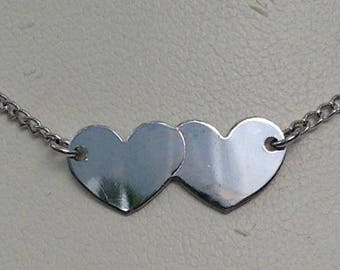 Two heart Sterling silver anklet